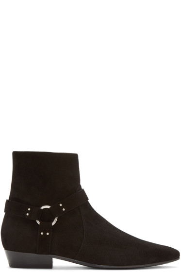 Saint Laurent - Black Suede Harness Devon Boots