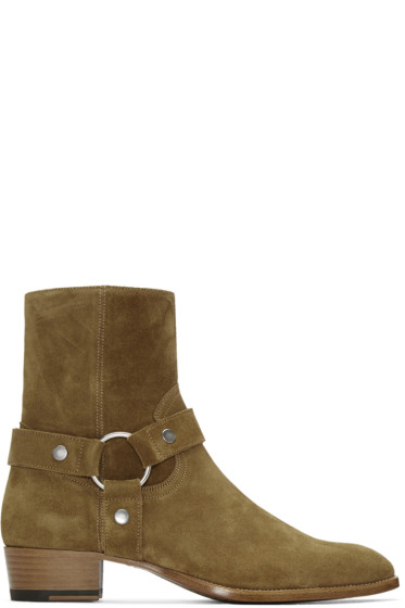 Saint Laurent - Brown Suede Wyatt Harness Boots