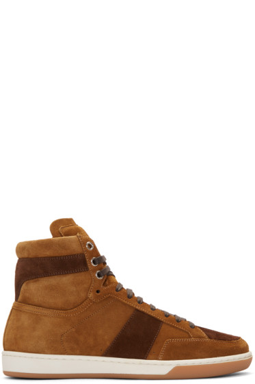 Saint Laurent - Tan Suede Court Classic High-Top Sneakers