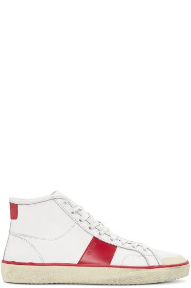 Saint Laurent - White Distressed Court Classic Mid-Top Sneakers