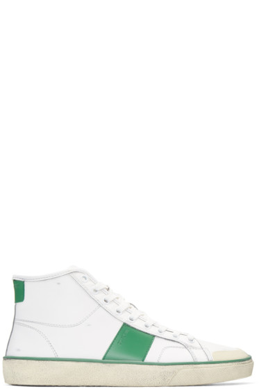 Saint Laurent - White Distressed SL/10 Court Classic Sneakers