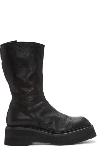 Julius - Black Leather Platform Boots