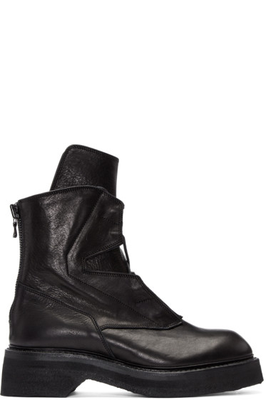 Julius - Black Leather Lace-Up Boots