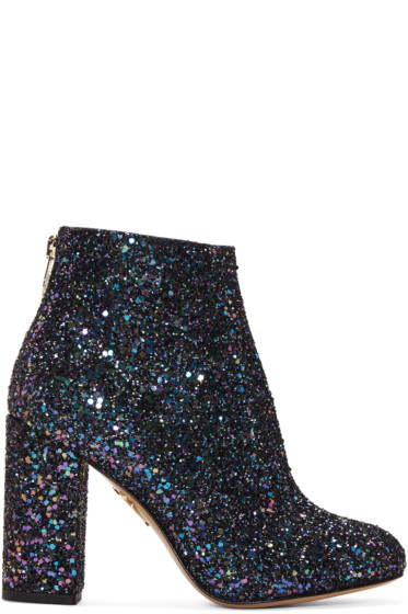 Charlotte Olympia - Blue Glittered Alba Ankle Boots