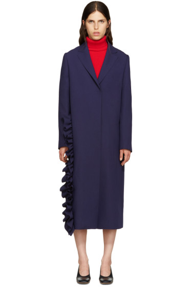MSGM - Navy Ruffle Coat