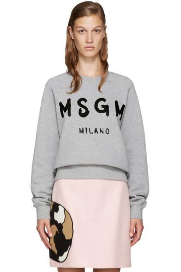 MSGM - Grey Painted Logo Sweatshirt