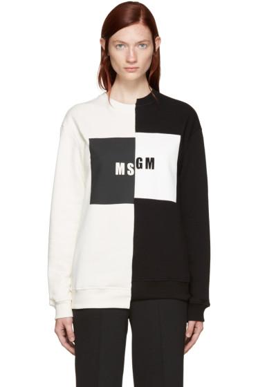 MSGM - Black & Ivory Mismatched Logo Sweatshirt