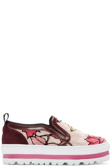 MSGM - Multicolor Printed Leaves Sneakers
