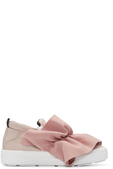 MSGM - Pink Ruched Trim Slip-On Sneakers