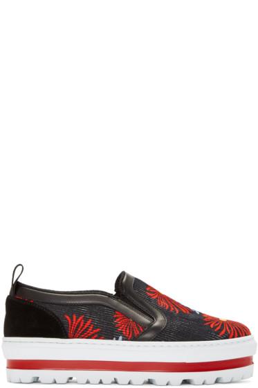 MSGM - Multicolor Flower Platform Sneakers