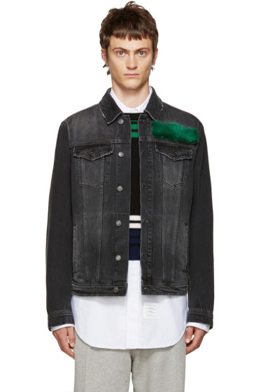 MSGM - Black Fur Appliqué Jacket