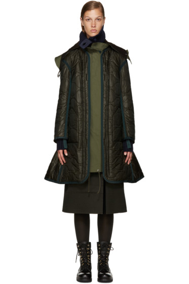 Sacai - Green Long Down Coat