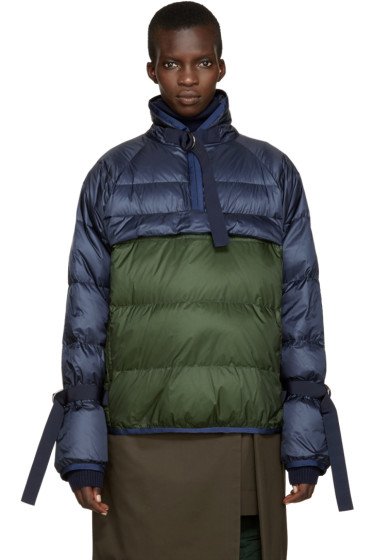 Sacai - Navy & Green Down Jacket