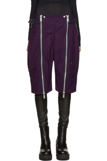 Sacai - Purple Double Zip Shorts