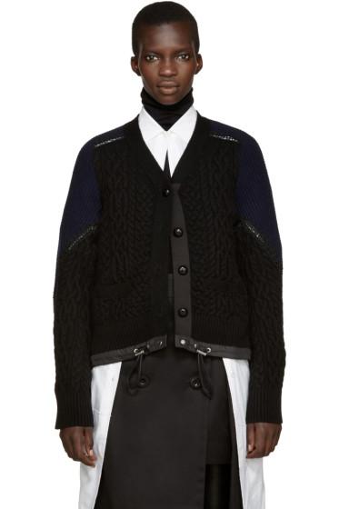 Sacai - Black Cable Knit Cardigan
