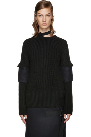 Sacai - Black Belted Collar Sweater
