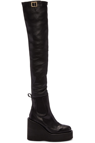 Sacai - Black Brogue Over-the-Knee Boots
