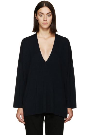 6397 - Navy Deep V Sweater