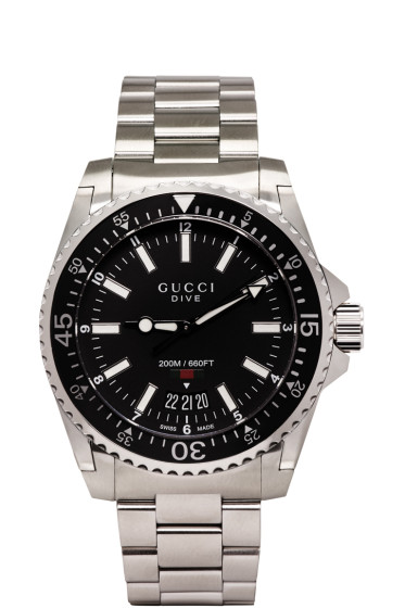 Gucci - Silver & Black Large Dive Watch
