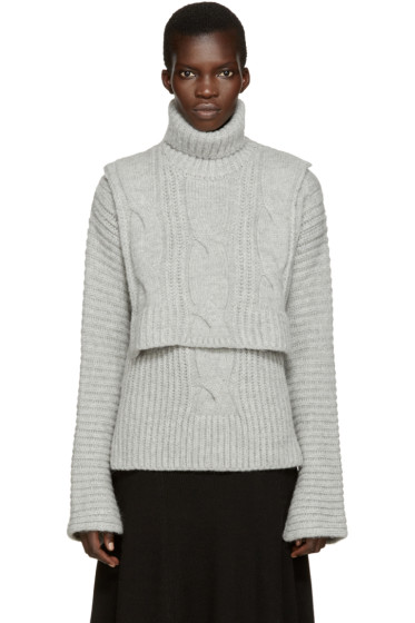 Cédric Charlier - Grey Cable Knit Turtleneck Collar