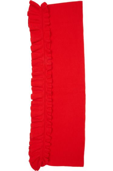 Stella McCartney - Red Wool RuffleScarf