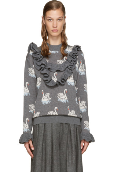 Stella McCartney - Grey Ruffle Swan Sweater