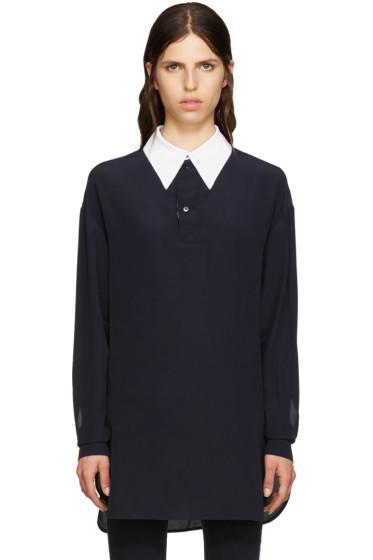 Stella McCartney - Navy Silk Collar Shirt