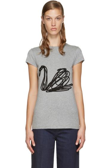 Stella McCartney - Grey Embroidered Swan T-Shirt