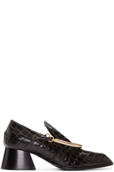 Stella McCartney - Black Croc-Embossed Loafers