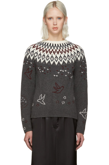 Nina Ricci - Grey Embroidered Icelandic Sweater