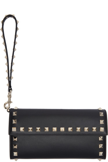 Valentino - Black Rockstud Continental Flap Wallet