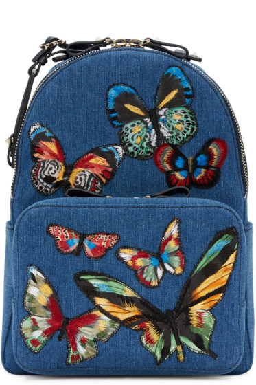 Valentino - Blue Denim Embroidered Butterflies Backpack