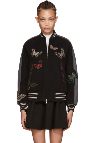 Valentino - Grey Embroidered Bomber Jacket
