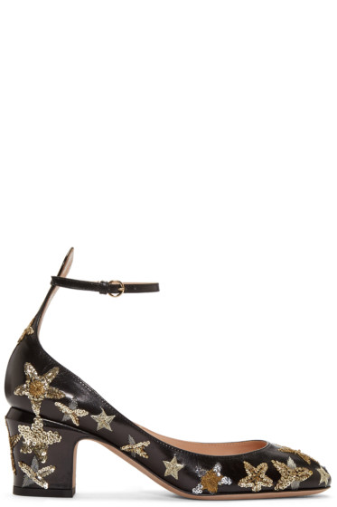 Valentino - Black Sequinned Stars Heels