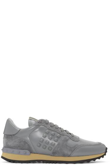 Valentino - Grey Rockstud Sneakers