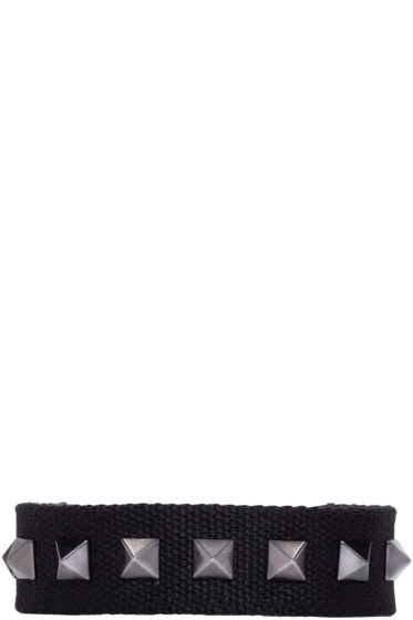 Valentino - Black Canvas Rockstud Bracelet