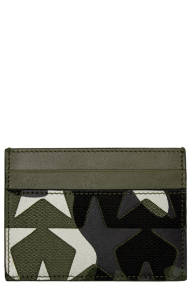 Valentino - Green Camouflage Stars Card Holder