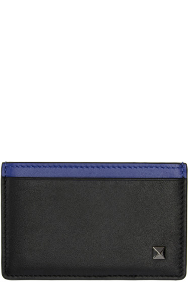 Valentino - Black Simple Stud Card Holder