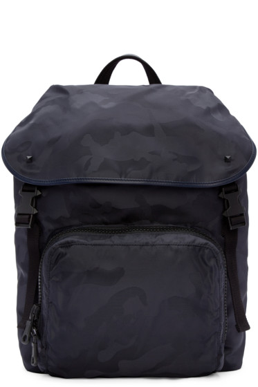 Valentino - Navy Nylon Camo Backpack
