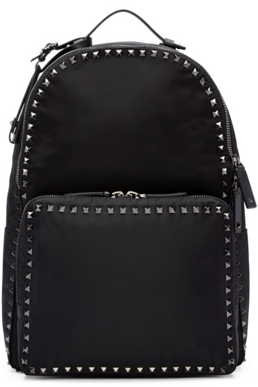 Valentino - Black Nylon Rockstud Backpack
