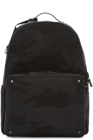 Valentino - Black Camo Rockstud Backpack