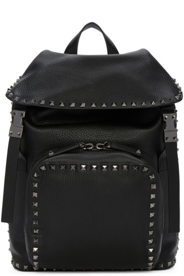 Valentino - Black Leather Rockstud Backpack