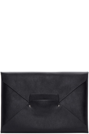 Valentino - Black Leather Envelope Clutch