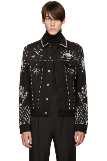 Valentino - Black Beaded Denim Jacket