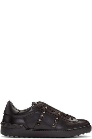 Valentino - Black Rockstud Untitled Open Sneakers
