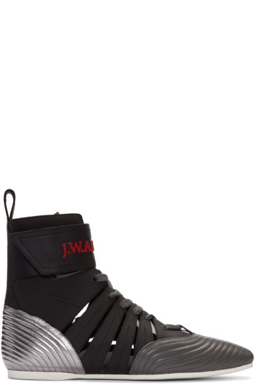 J.W.Anderson - Black Leather High-Top Sneakers