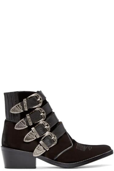 Toga Pulla - Black Velvet Western Buckle Boots