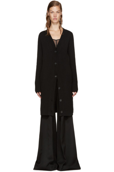 Yang Li - Black Wool Oversized Cardigan