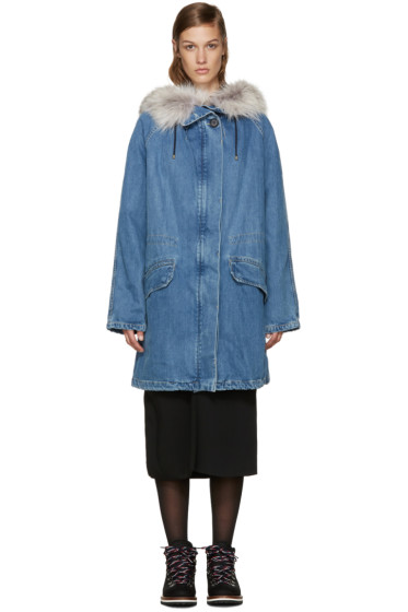 Army by Yves Salomon - Blue Fur-Lined Long Denim Parka