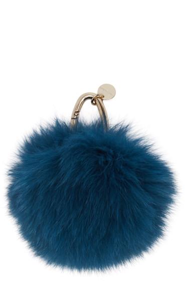 Yves Salomon - Blue Fur Keychain
